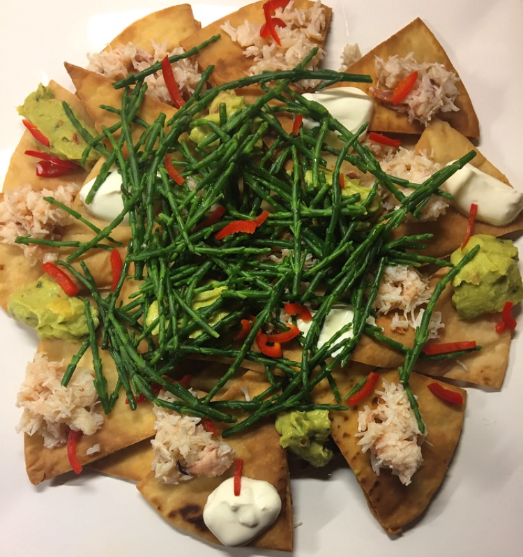 Crab, Chilli and Samphire Nachos