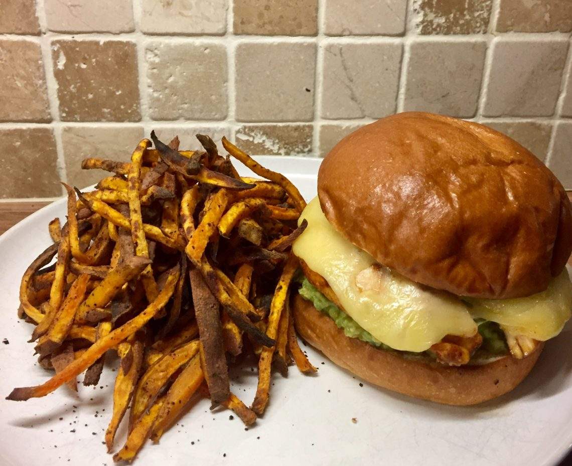 Mexican Chicken Burger With Cajun Sweet Potato Fries Pershore Patty