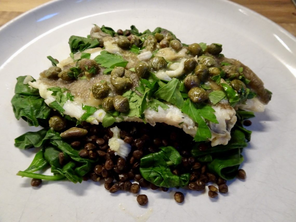 Pan-fried Lemon Sole with Caper Sauce and Lentils
