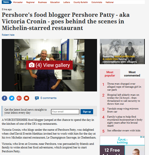 Read more about the article Pershore's Food Blogger Pershore Patty – aka Victoria Cronin – Goes Behind the Scenes in Michelin-Starred Restaurant