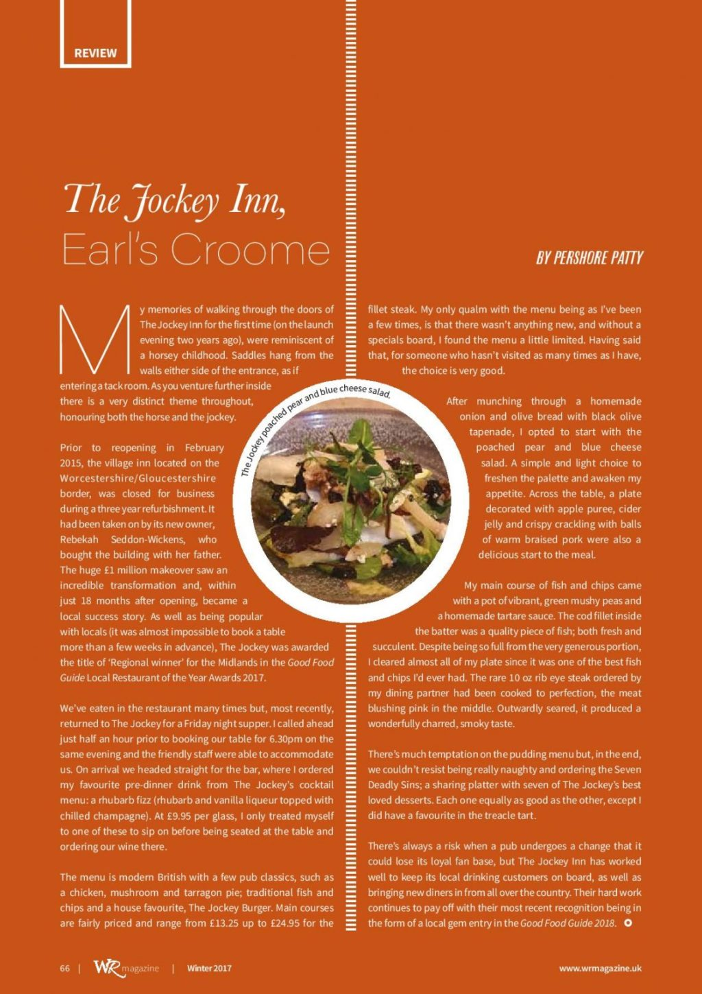 Pershore Patty: The Jockey Inn, Earl's Croome Review Features in Worcestershire's WR Magazine