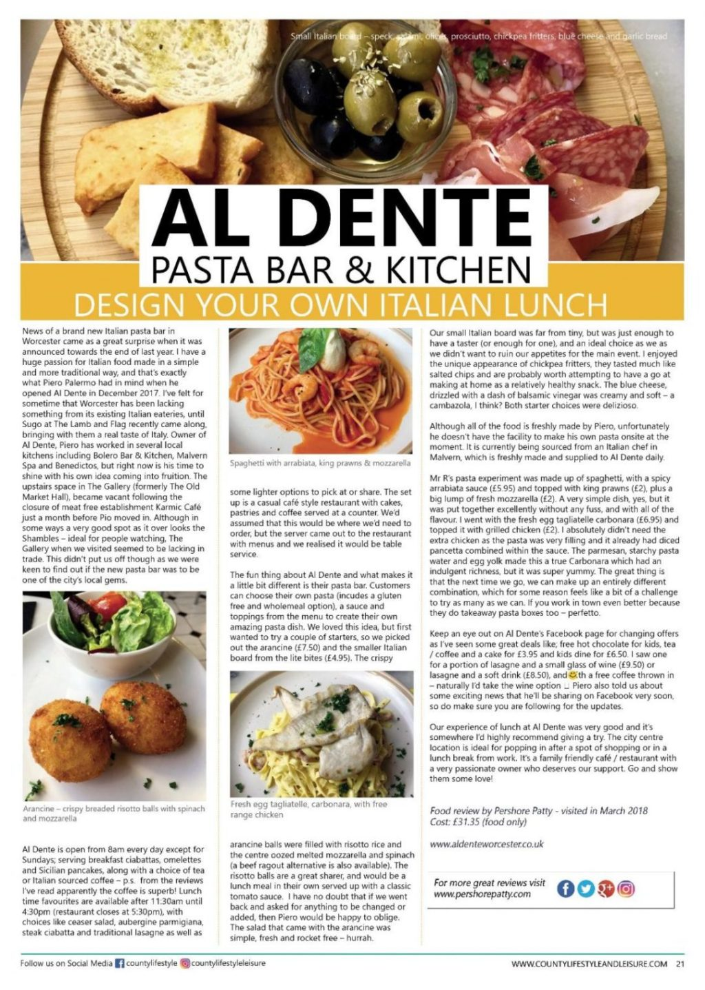 PAGE 21 - Al Dente Review - COUNTY LIFESTYLE MAY 2018 ISSUE-page-001