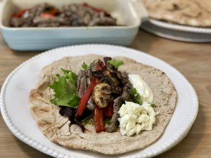 Charcoal Mushroom and Minute Steak Flatbread | Recipe