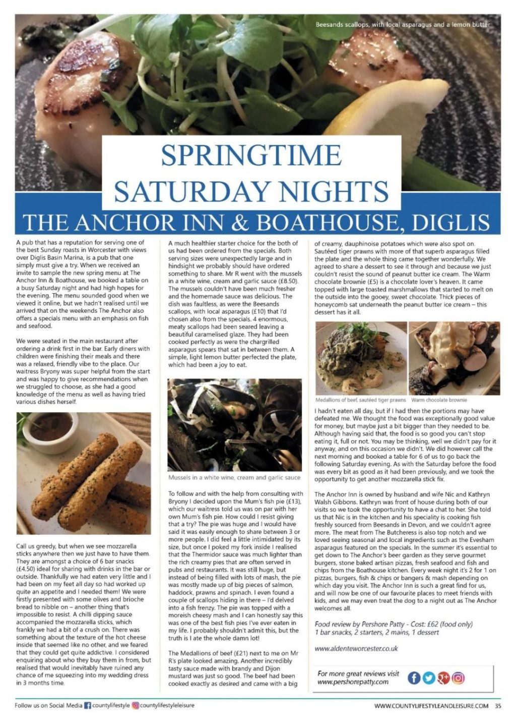 You are currently viewing Pershore Patty: The Anchor Inn & Boathouse, Diglis Review | Featured in County Lifestyle and Leisure Magazine