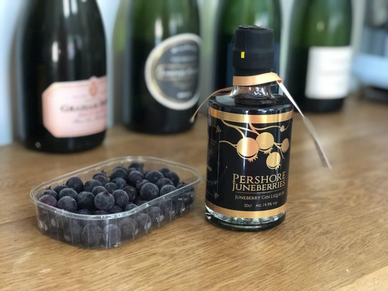 Pershore Juneberries and gin liqueur