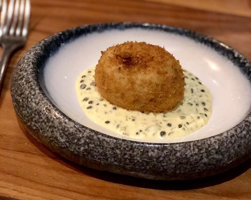 Smoked Haddock Scotch Egg at The Fish Hotel Hook Restaurant, Broadway